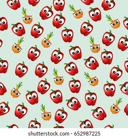 Very high quality original trendy  seamless pattern with onion and red pepper