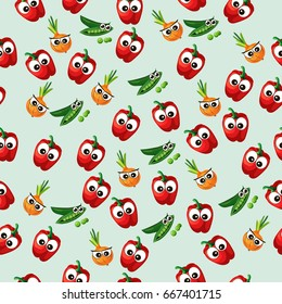 Very high quality original trendy  seamless pattern with green peas pods and red pepper, onion