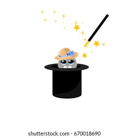 Very high quality original trendy  illustration of magic hat with bunny or rabbit in hat and wand with sparkles