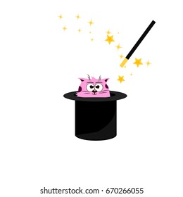 Very high quality original trendy  illustration of magic hat with cat and wand with sparkles