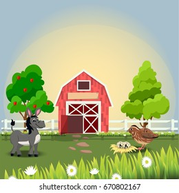 Very high quality original trendy  illustration of happy and cheerful donkey and quail on farm with fruit trees and chamomiles, farm animal