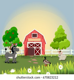 Very high quality original trendy  illustration of happy and cheerful donkey, duck and rabbit on farm with fruit trees and chamomiles, farm animal