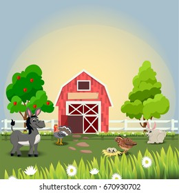 Very high quality original trendy  illustration of happy and cheerful donkey, turkey, quail and rabbit