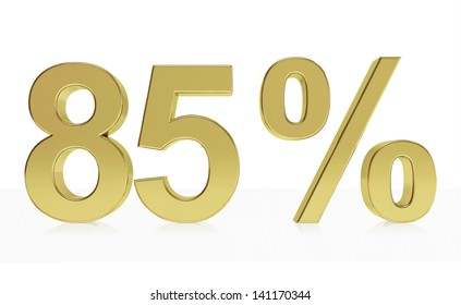 Very high quality rendering of a symbol for 85 % discount or gain with a subtle reflection.(series)
