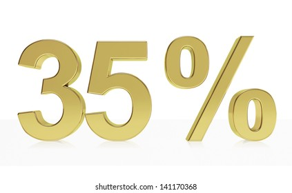 Very high quality rendering of a symbol for 35 % discount or gain with a subtle reflection.(series)