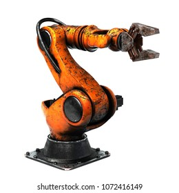 Very high resolution 3d rendering of an aged industrial robot.