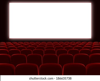 Very high resolution 3d rendering of an empty cinema auditorium