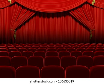 Very high resolution 3d rendering of an empty theater auditorium