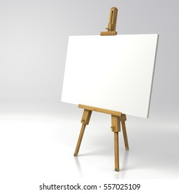 Very high resolution 3d rendering of a wooden easel with empty canvans isolated over white.
