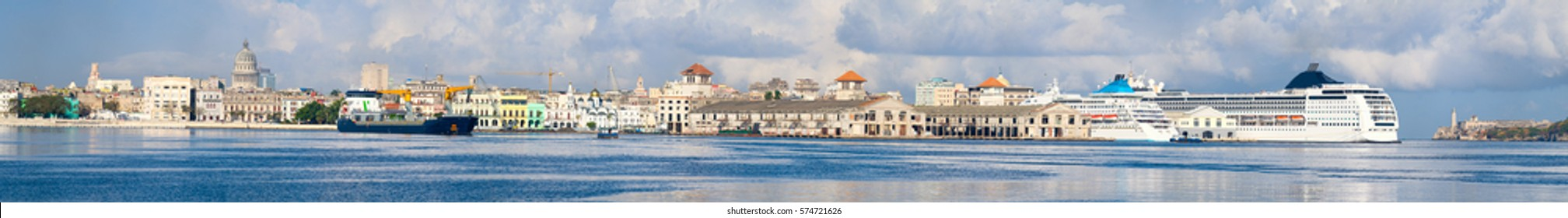 Very high resolution panoramic image of the Bay of Havana in Cuba with a view of the entire Old Havana skyline and several landmarks