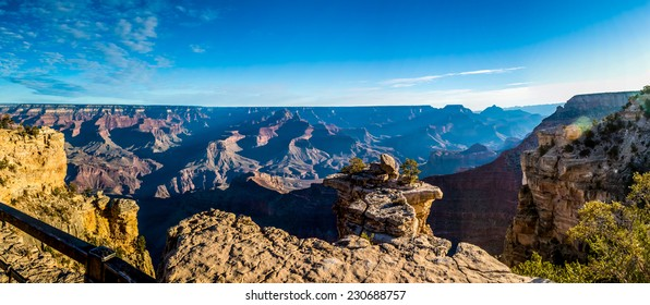 A Very High Resolution Panoramic Wide Angled View of the South Rim of the Magnificent Grand Canyon in Arizona