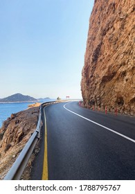 Very high rocky and cost empty asphalt road. Kaputas Beach, Kas, Antalya