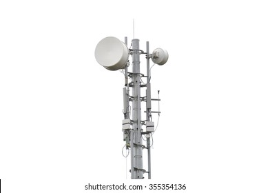 Very high telecommunication tower isolated on white