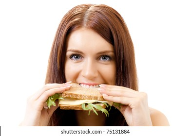 Very hungry gluttonous woman eating sandwich with cheese, isolated on white background