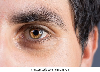 Very intense look of brown eye of man