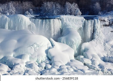 Very large amounts of ice build-up of the American Falls as seen from the Canadian side.