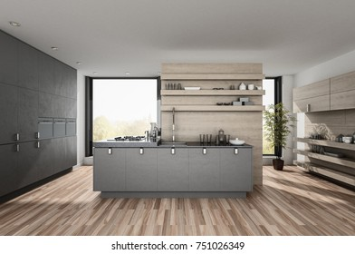 Very large spacious luxury modern kitchen with built in appliances and cabinets, wood floor and centre island backed by a large window. 3d rendering