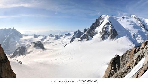 Very Large view of the french mountain Mont Blanc highest summit of the Alps