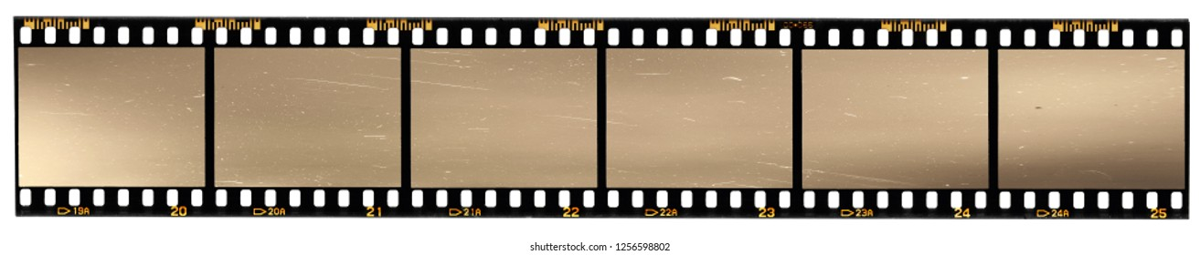 very long film strip, six empty photo frames, just blend in your work, real high-res 35mm filmstrip scan with signs of usage and scratches on white background