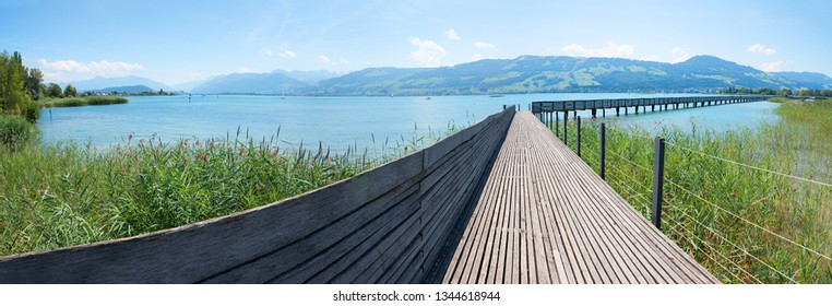 very long wooden footbridge over zurichsee, between rapperswil and hurden, canton st gallen switzerland