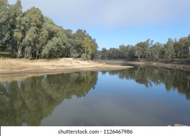 the very low on water murrumbidgee river in the country with reflection of trees in the water and a sandy beach on one side on a sunny day with cloud in sky