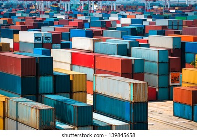 very many containers in shanghai sea port