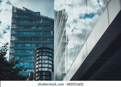 very modern architecture with some reflections at the glass front
