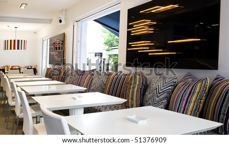Very Modern Decoration Lounge Cafe Bar Stock Photo (Edit Now ...