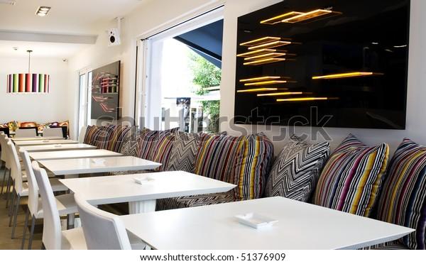 Very Modern Decoration Lounge Cafe Bar Stock Photo (Edit Now ...