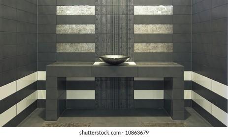 Very modern symmetry bathroom with sink