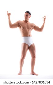 very muscular handsome athletic man on white background