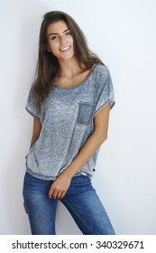 Very natural woman wearing casual clothes