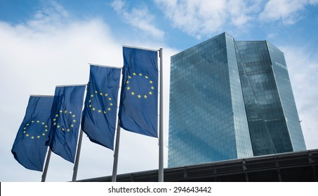 Very new building of european central bank ECB in Frankfurt, Germany. Short time after opening this new building 01. June 2015