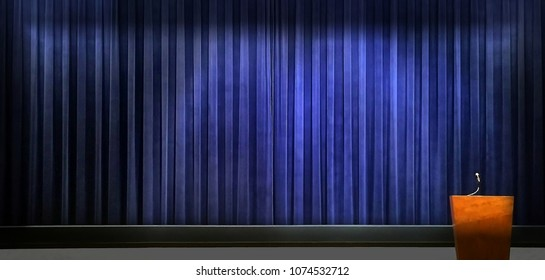 Very nice Image of a presentation Stage with Podium,curtain and Mic