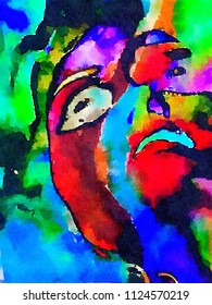 A very Nice Original Watercolor abstract figurative painting On paper