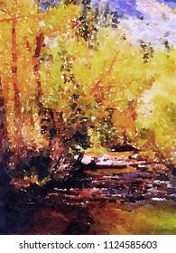 very Nice Original Watercolor painting Of the Lee Vining Creek Near Yosemite