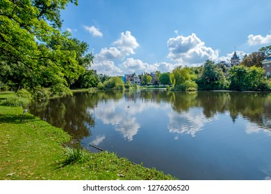 A very nice pond with a heron along the water in a beautiful and large park, the Vondelpark, in the center of Amsterdam, the Netherlands.