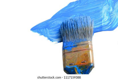 Very Nice and simple Blue Paint brush and white pallet