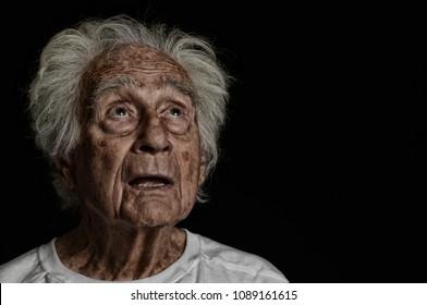 very Nice striking Image of a Senior man On Black