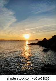 "Very nice sunset on a beach at ""Saint-Malo"""