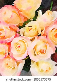 very Nice Watercolor of a bouquet of Roses