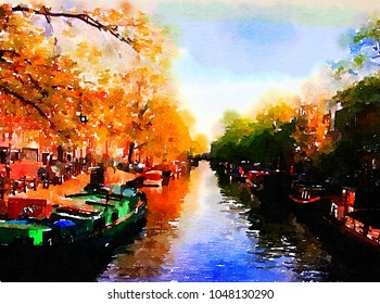 Very Nice Watercolor painting Of Amsterdam and Canals
