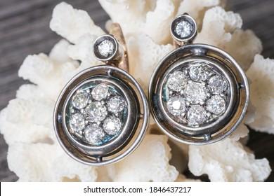 very old 12k gold diamonds earrings