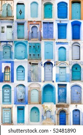 Very old, blue wooden doors of Morocco