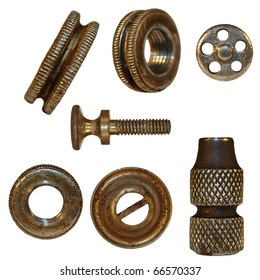 very old bolts, steel nuts, screw heads, isolated on white background (1860.years)