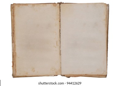 Very old book with Two Blank pages for your copy. Isolated on white background.