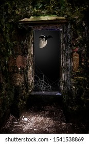Very old brick wall and window with view on flying bat against the moonlight. Halloween background.