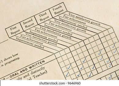 A very old child's report card on yellowing cardstock.