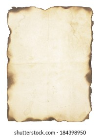 Very old, creased paper with fire damaged and burned edges. Blank with room for text or images. Isolated on white.