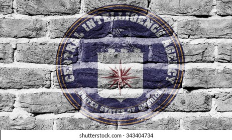 Very old dark red brick wall texture, flag of the CIA